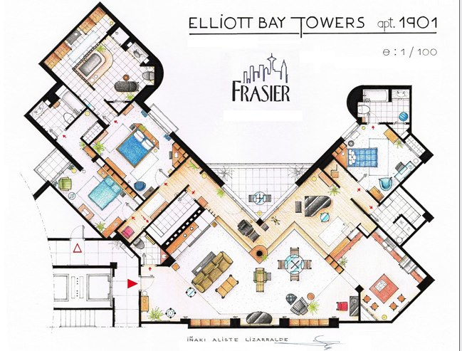 Artist Drafts Floor Plans of Sitcom Apartments The Airspace – Floor Plans Of Tv Homes